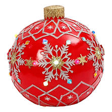 "18"" Electric Lighted Poly-Resin Musical Jumbo Ornament, Red"