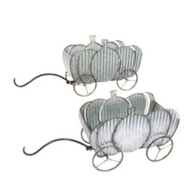 Nesting Galvanized Metal Pumpkin Wagons (Set of 2)
