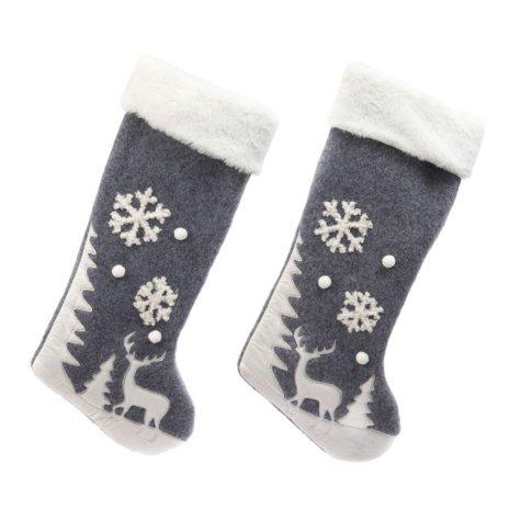 Fabric Winter Scene Stockings (Set of 2)
