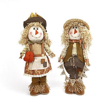 Set of 2 Plush Scarecrows