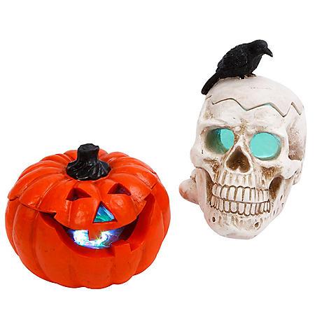 Electric Resin Smoking Skull And Pumpkin Figurines