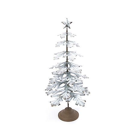 """33"""" Galvanized Metal Tabletop Evergreen Tree with Star Topper Accent"""