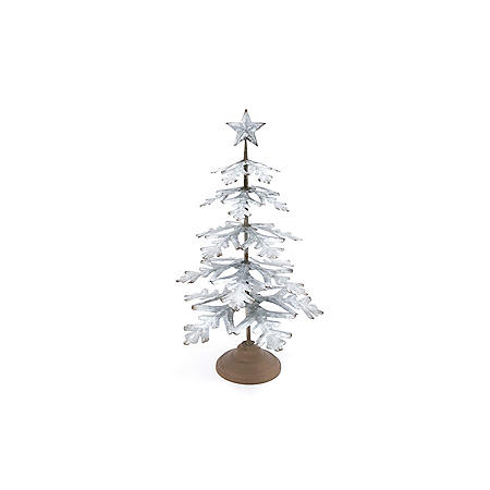 """23"""" Galvanized Metal Tabletop Evergreen Tree with Star Topper Accent"""