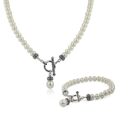 Cultured Pearls by Honora Freshwater Cultured 7-7.5mm Rondelle-Shaped Pearl Toggle Necklace & Bracelet Set