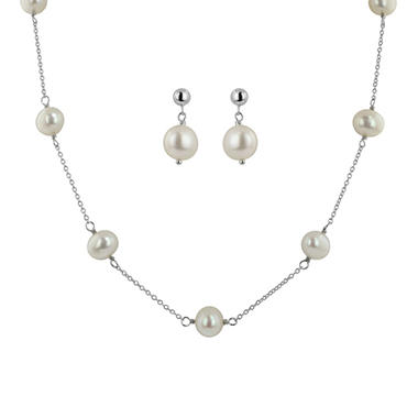 Cultured Pearls by Honora Sterling Silver Freshwater Cultured Pearl Station Necklace and Earring Set