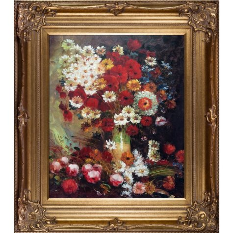 Vincent Van Gogh Vase with Poppies Cornflowers Peonies and Chrysanthemums Hand Painted Oil Reproduction