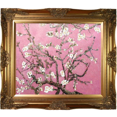 La Pastiche Original Branches of an Almond Tree in Blossom, Pearl Pink Hand Painted Oil Reproduction