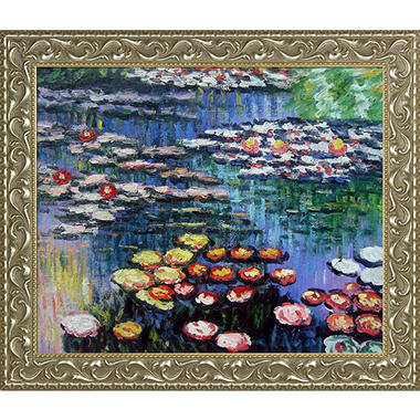 Claude Monet Water Lilies, Pink Hand Painted Oil Reproduction