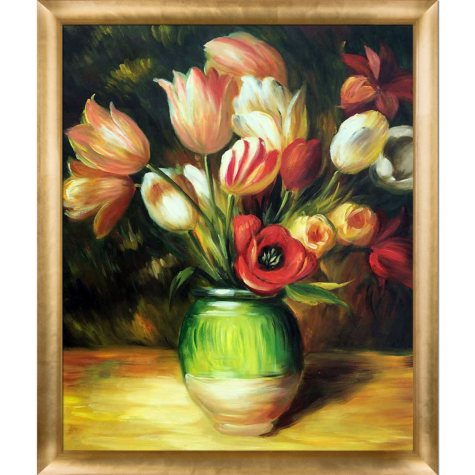 Pierre-Auguste Renoir Tulips in a Vase Hand Painted Oil Reproduction