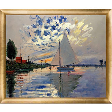 Claude Monet Sailboat at Le Petit-Gennevilliers Hand Painted Oil Reproduction
