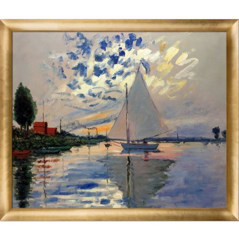 Claude Monet Sailboat at Le Petit-Gennevilliers Hand Painted Oil Reproduction