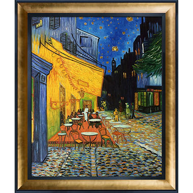 Vincent Van Gogh Cafe Terrace at Night (gold)  Hand Painted Oil Reproduction