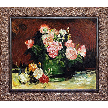Vincent Van Gogh Bowl with Peonies and Roses Hand Painted Oil Reproduction