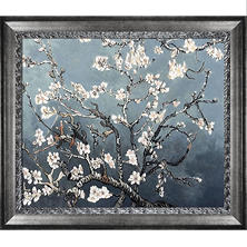 La Pastiche Original Branches of an Almond Tree in Blossom, Pearl Grey Hand Painted Oil Reproduction