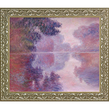 Claude Monet Misty Morning on the Seine, Pink Hand Painted Oil Reproduction