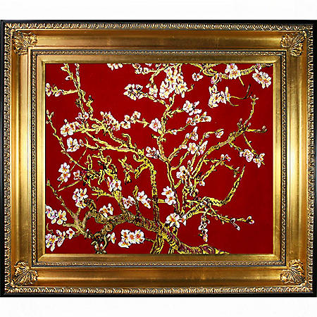 La Pastiche Original Branches of an Almond Tree in Blossom, Ruby Red (gold) Hand Painted Oil Reproduction