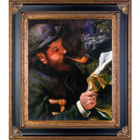 Pierre-Auguste Renoir Claude Monet Reading Hand Painted Oil Reproduction