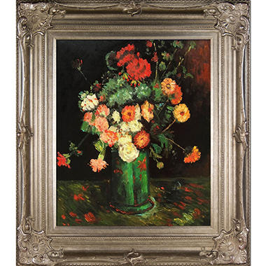 Vincent Van Gogh Vase with Zinnias and Geraniums Hand Painted Oil Reproduction