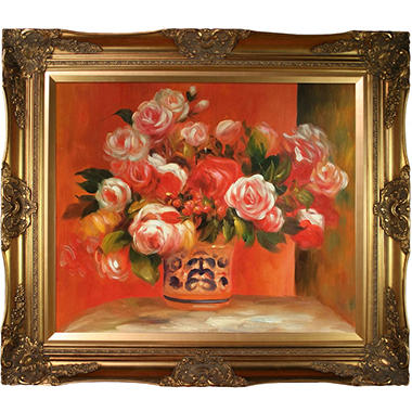 Pierre-Auguste Renoir Roses in a Vase Hand Painted Oil Reproduction