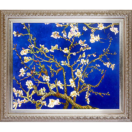 La Pastiche Original Branches of an Almond Tree in Blossom, Sapphire Blue Hand Painted Oil Reproduction