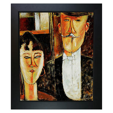 Hand-painted Oil Reproduction of Amedeo Modigliani <i>Bride and Groom</i>.