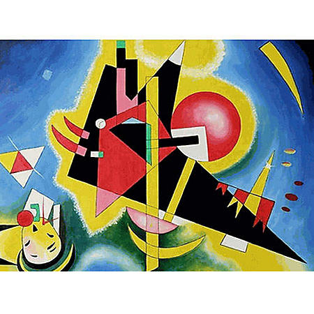 Hand-painted Oil Reproduction of Wassily Kandinsky <i>Im Blau</i>.