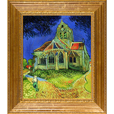Hand-painted Oil Reproduction of Vincent Van Gogh's <i>The Church at Auvers</i>.
