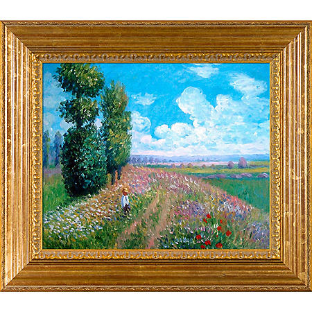 Hand-painted Oil Reproduction of Claude Monet's Field with Poplars.