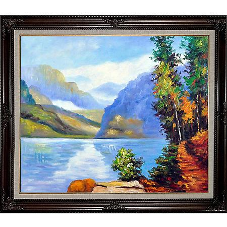Hand-painted Oil Reproduction of Edward Henry Potthast's <i>Lake Louise, British Columbia</i>.