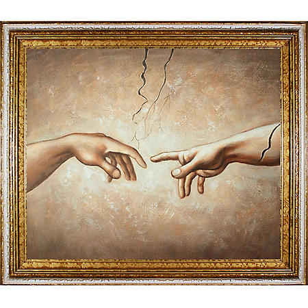 Hand-painted Oil Reproduction of Michelangelo's <i>Creation of Adam (Interpretation)</i>.