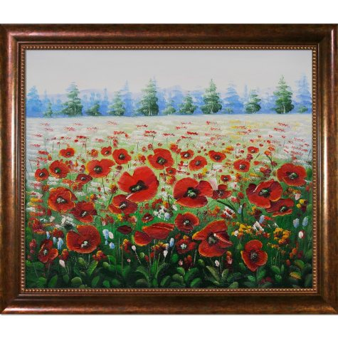 Hand-painted Oil Reproduction of Various Artists'  Poppies in the Wild.