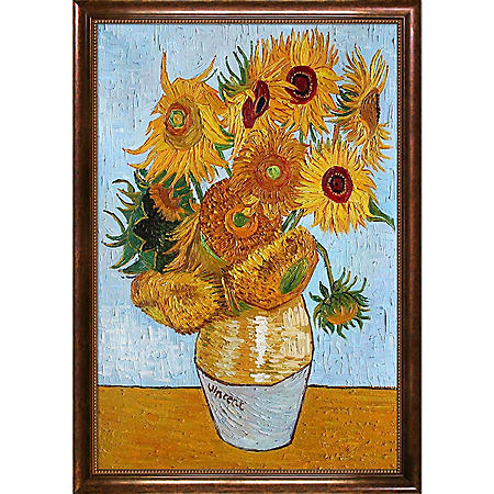 Hand-painted Oil Reproduction of Vincent Van Gogh's Sunflowers.