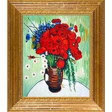 Hand-painted Oil Reproduction of Vincent Van Gogh's Vase with Daisies and Poppies.
