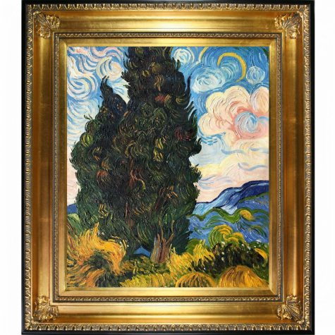 Hand-painted Oil Reproduction of Vincent Van Gogh's Two Cypresses..