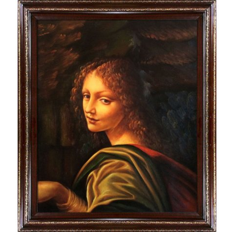 Hand-painted Oil Reproduction of Leonardo Da Vinci's <i>The Virgin of the Rocks</i>.