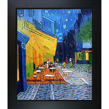 hand painted oil reproduction of vincent van goghs cafe terrace at night