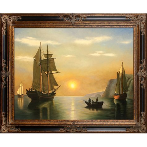 Hand-painted Oil Reproduction of William Bradford's <i>A Sunset Calm in the Bay of Fundy</i>.
