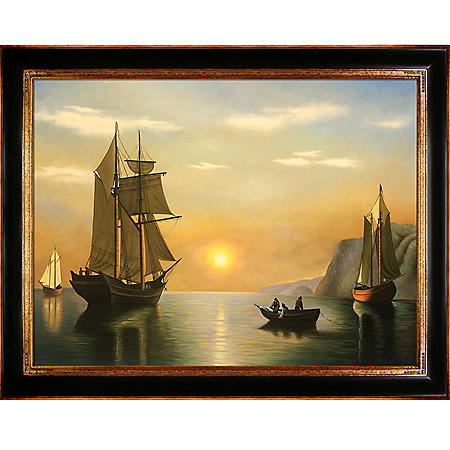 "Hand-painted Oil Reproduction of William Bradford's ""A Sunset Calm in the Bay of Fundy""."