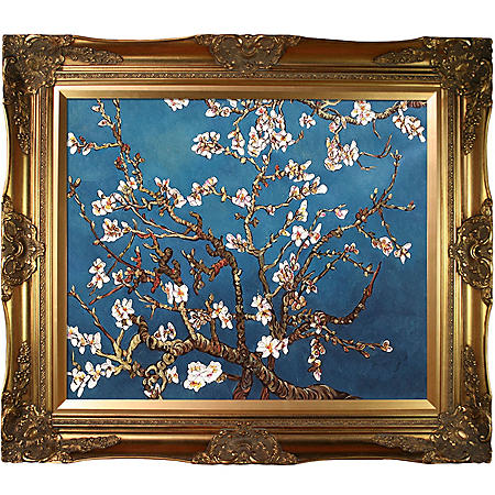 Hand-painted Oil Reproduction of Vincent Van Gogh's <i>Branches of an Almond Tree in Blossom</i>.