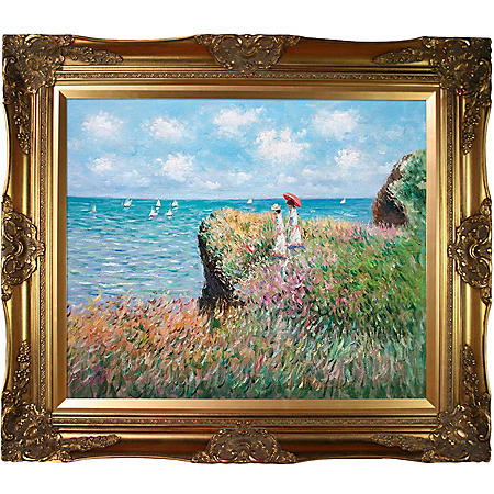 hand painted oil reproduction of claude monet 39 s cliff walk at pourville sam 39 s club. Black Bedroom Furniture Sets. Home Design Ideas