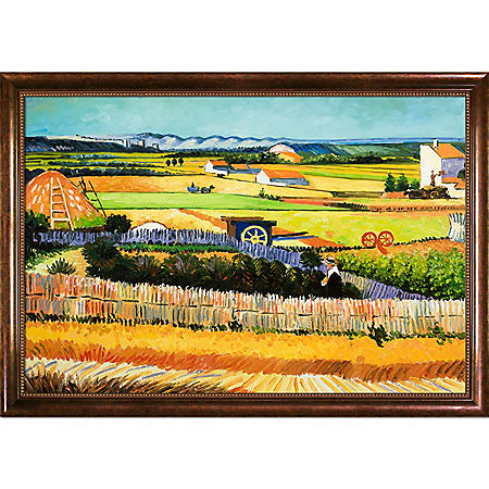 Hand-painted Oil Reproduction of Vincent Van Gogh's <i>The Harvest</i>.