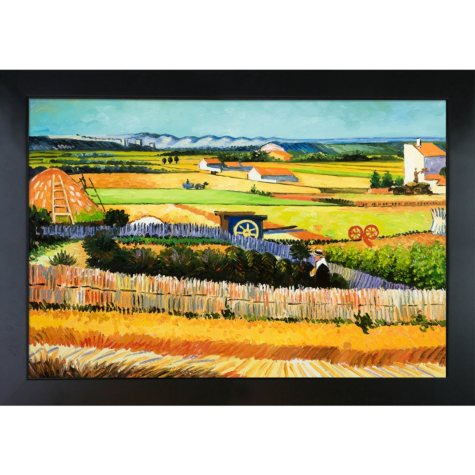 Hand-painted Oil Reproduction of Vincent Van Gogh's <i>The Harvest</i>..