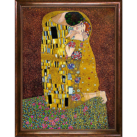 Hand-painted Oil Reproduction of Gustav Klimt's  <i>The Kiss (Full View)</i>.