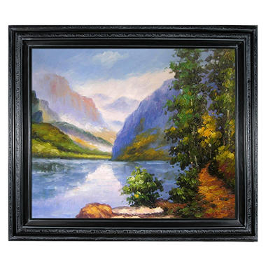 Hand-painted Oil Reproduction of Edward Henry Potthast's <i>Lake Louise, British Columbia</i>.