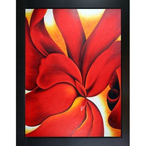 Hand-painted Oil Reproduction of Georgia O'Keeffe's <i>Red Cannas</i>.