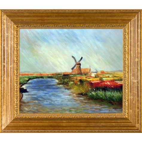 Hand-painted Oil Reproduction of Claude Monet's  Tulip Field in Holland.