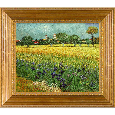 Hand-painted Oil Reproduction of Vincent Van Gogh's View of Arles with Irises.