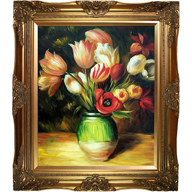 Hand-painted Oil Reproduction of Pierre Auguste Renoir's Tulips in a Vase.