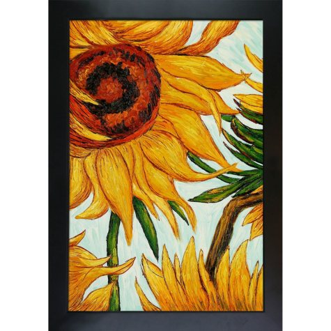 Hand-painted Oil Reproduction of Vincent Van Gogh's Sunflowers (detail).
