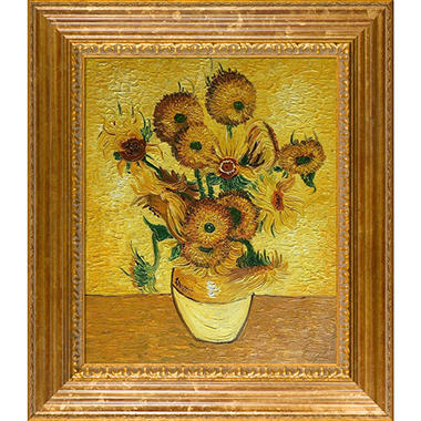 Hand-painted Oil Reproduction of Vincent Van Gogh's Vase with Fifteen Sunflowers.